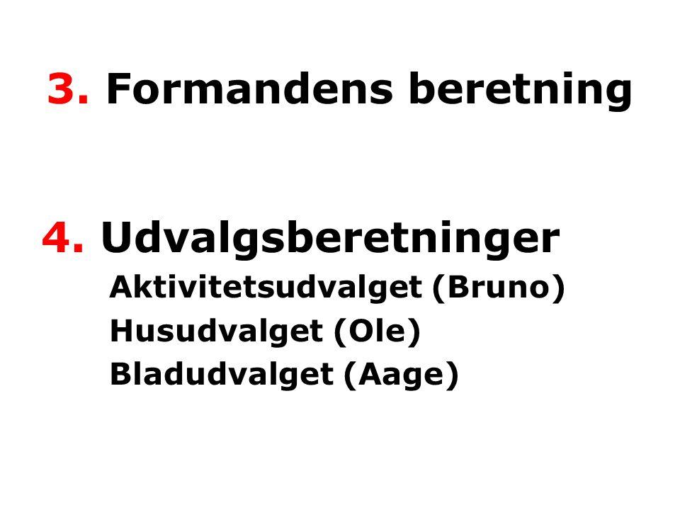 4. Udvalgsberetninger Aktivitetsudvalget (Bruno) Husudvalget (Ole) Bladudvalget (Aage) 3.