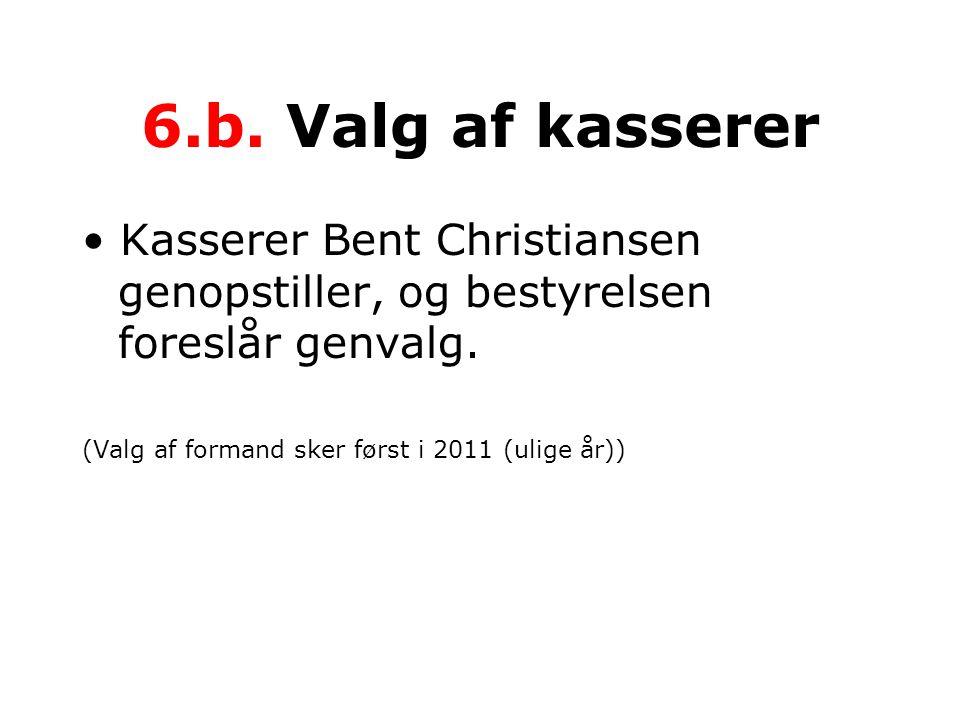 6.b. Valg af kasserer • Kasserer Bent Christiansen genopstiller, og bestyrelsen foreslår genvalg.