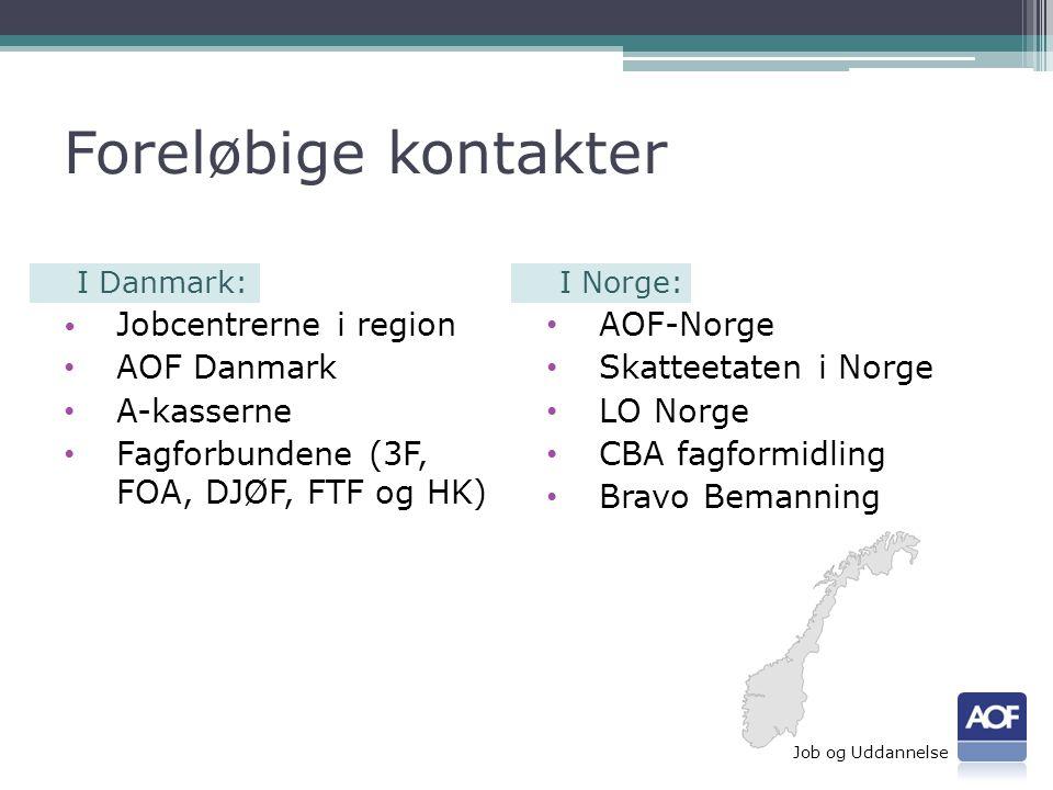Foreløbige kontakter I Danmark: • Jobcentrerne i region • AOF Danmark • A-kasserne • Fagforbundene (3F, FOA, DJØF, FTF og HK) I Norge: • AOF-Norge • Skatteetaten i Norge • LO Norge • CBA fagformidling • Bravo Bemanning Job og Uddannelse
