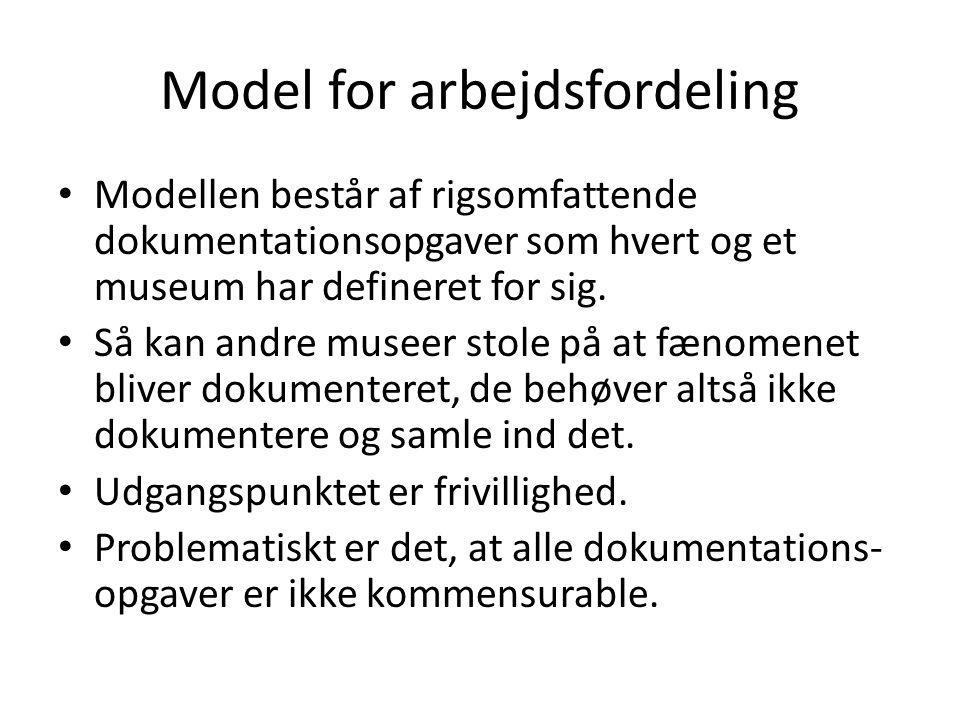 Model for arbejdsfordeling • Modellen består af rigsomfattende dokumentationsopgaver som hvert og et museum har defineret for sig.