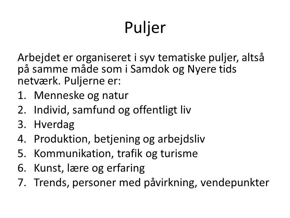 Puljer Arbejdet er organiseret i syv tematiske puljer, altså på samme måde som i Samdok og Nyere tids netværk.