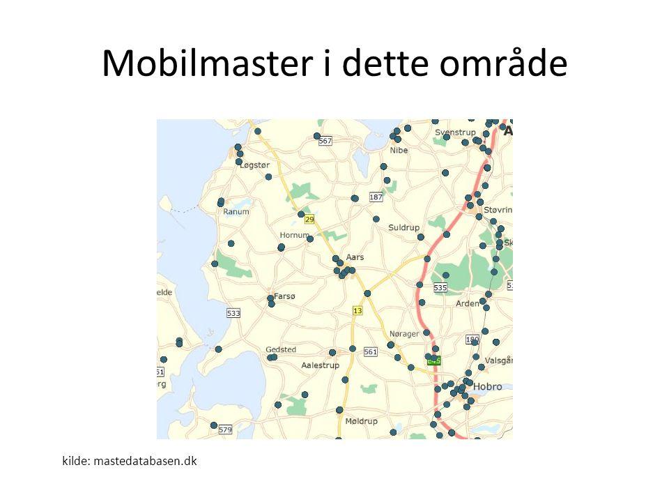 Mobilmaster i dette område kilde: mastedatabasen.dk