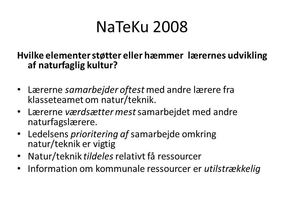 NaTeKu 2008 Hvilke elementer støtter eller hæmmer lærernes udvikling af naturfaglig kultur.