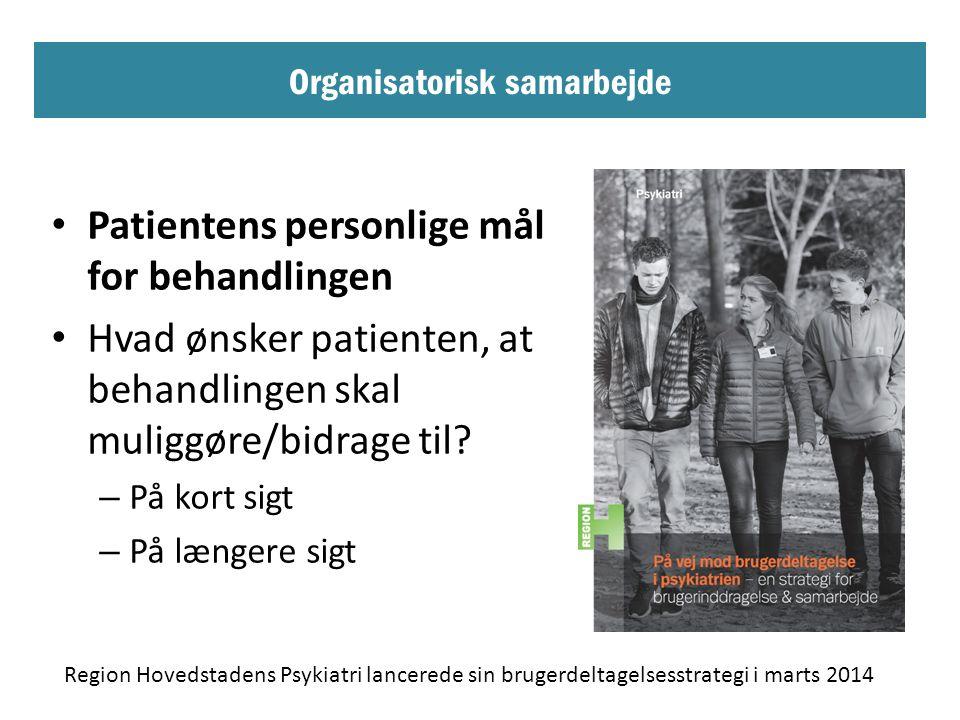 Organisatorisk samarbejde • Patientens personlige mål for behandlingen • Hvad ønsker patienten, at behandlingen skal muliggøre/bidrage til.