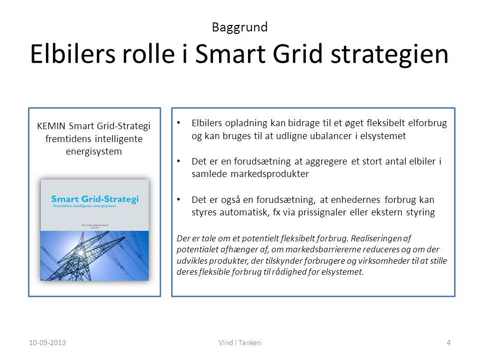 Baggrund Elbilers rolle i Smart Grid strategien KEMIN Smart Grid-Strategi fremtidens intelligente energisystem • Elbilers opladning kan bidrage til et øget fleksibelt elforbrug og kan bruges til at udligne ubalancer i elsystemet • Det er en forudsætning at aggregere et stort antal elbiler i samlede markedsprodukter • Det er også en forudsætning, at enhedernes forbrug kan styres automatisk, fx via prissignaler eller ekstern styring Der er tale om et potentielt fleksibelt forbrug.