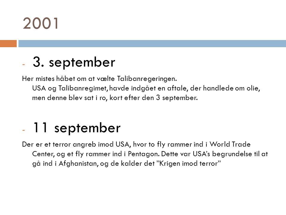 2001 - 3. september Her mistes håbet om at vælte Talibanregeringen.