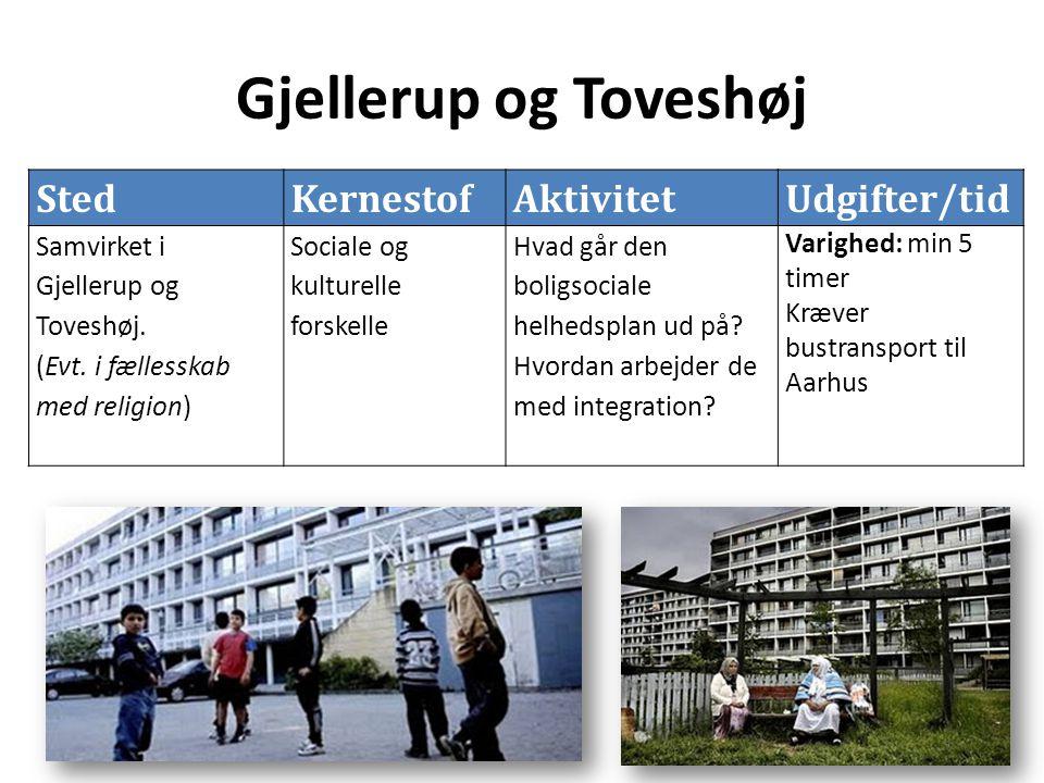 Gjellerup og Toveshøj StedKernestofAktivitetUdgifter/tid Samvirket i Gjellerup og Toveshøj.