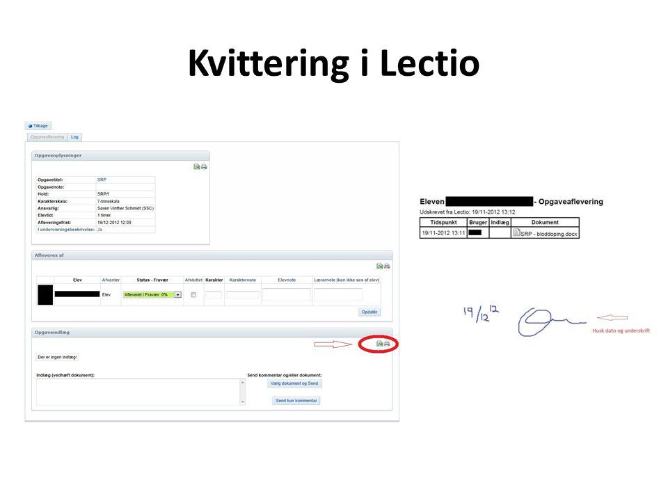 Kvittering i Lectio