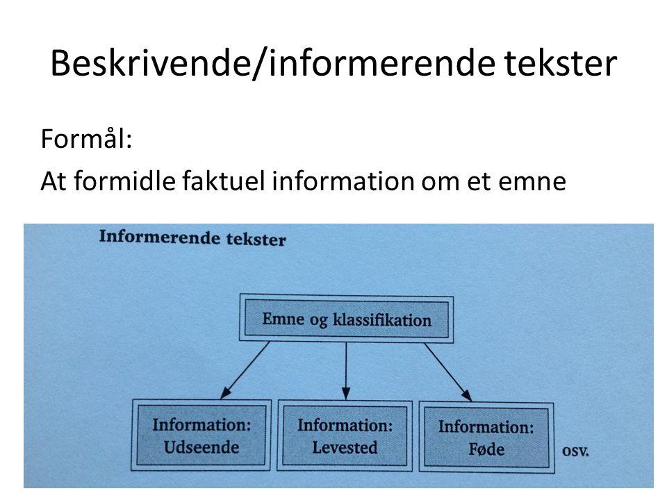 Beskrivende/informerende tekster Formål: At formidle faktuel information om et emne