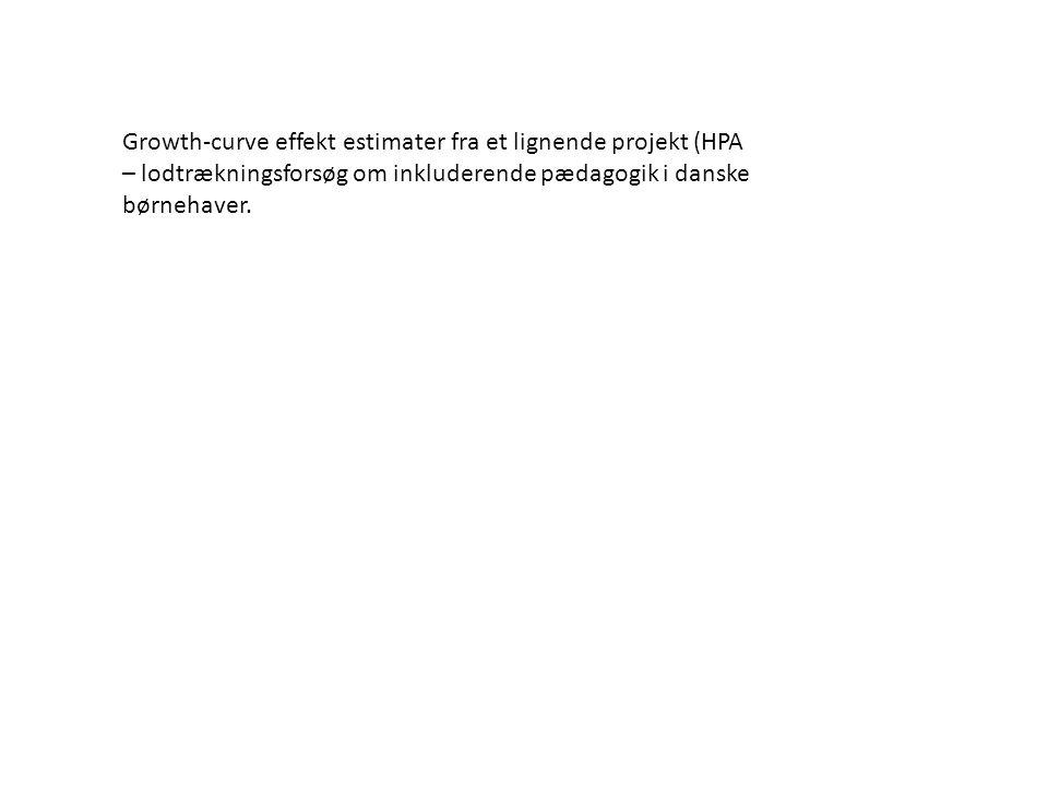 Growth-curve effekt estimater fra et lignende projekt (HPA – lodtrækningsforsøg om inkluderende pædagogik i danske børnehaver.