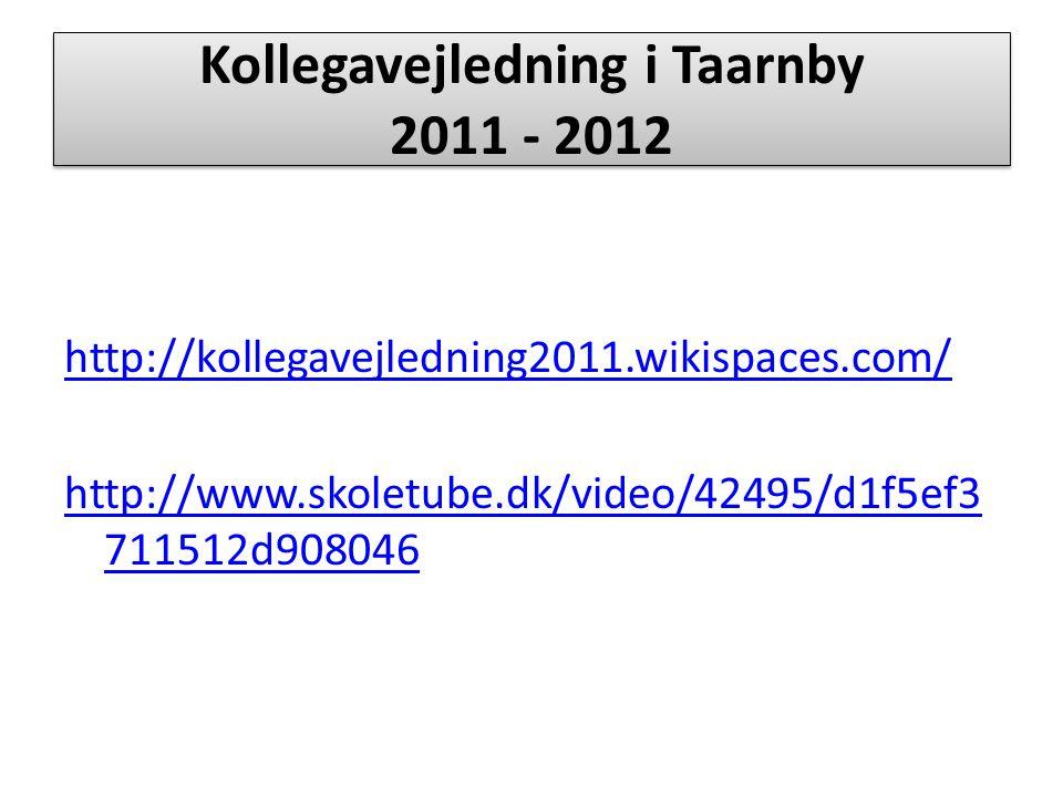Kollegavejledning i Taarnby 2011 - 2012 http://kollegavejledning2011.wikispaces.com/ http://www.skoletube.dk/video/42495/d1f5ef3 711512d908046