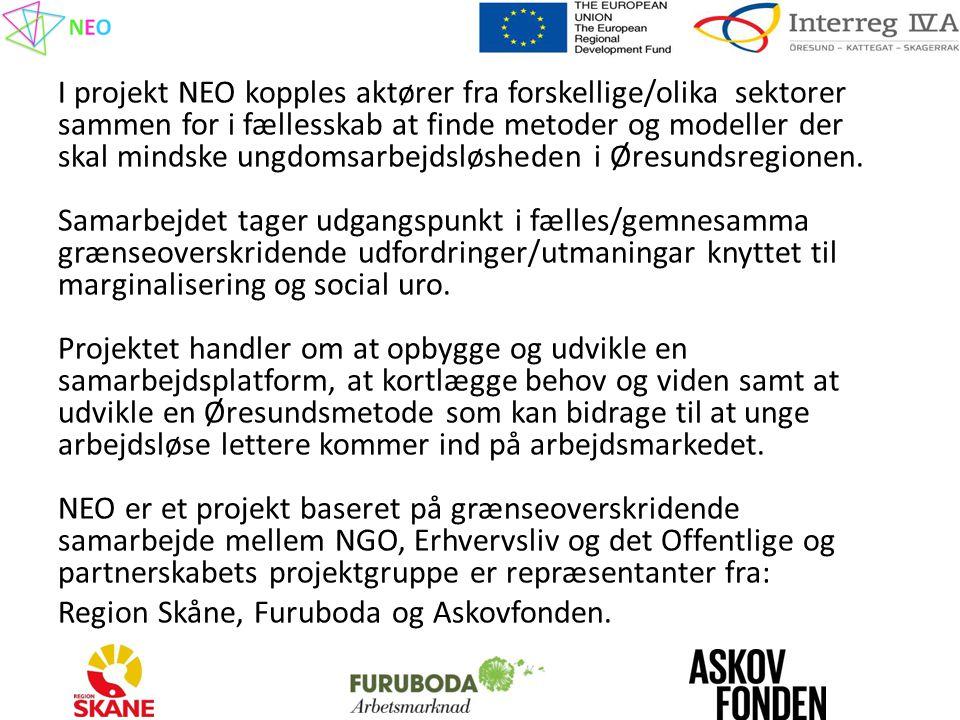 I projekt NEO kopples aktører fra forskellige/olika sektorer sammen for i fællesskab at finde metoder og modeller der skal mindske ungdomsarbejdsløsheden i Øresundsregionen.
