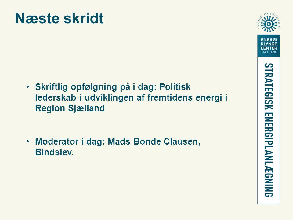 Næste skridt •Skriftlig opfølgning på i dag: Politisk lederskab i udviklingen af fremtidens energi i Region Sjælland •Moderator i dag: Mads Bonde Clausen, Bindslev.