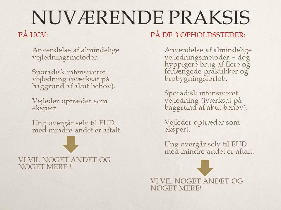 NUVÆRENDE PRAKSIS PÅ UCV: - Anvendelse af almindelige vejledningsmetoder.