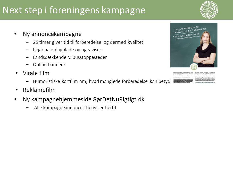 Next step i foreningens kampagne • Ny annoncekampagne – 25 timer giver tid til forberedelse og dermed kvalitet – Regionale dagblade og ugeaviser – Landsdækkende v.