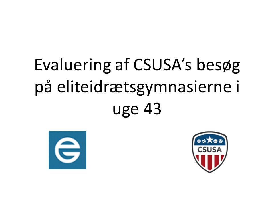 Evaluering af CSUSA's besøg på eliteidrætsgymnasierne i uge 43