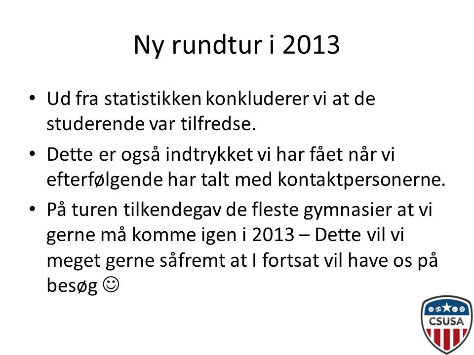 Ny rundtur i 2013 • Ud fra statistikken konkluderer vi at de studerende var tilfredse.