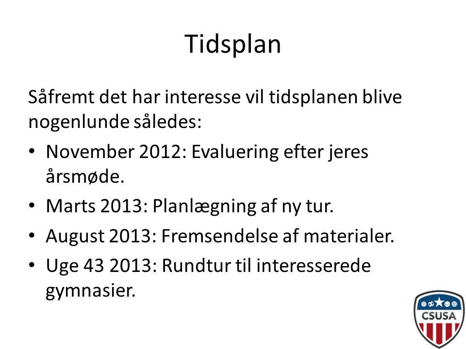 Tidsplan Såfremt det har interesse vil tidsplanen blive nogenlunde således: • November 2012: Evaluering efter jeres årsmøde.