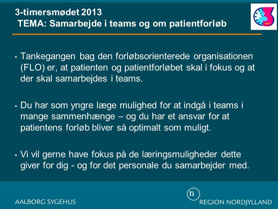 3-timersmødet 2013 TEMA: Samarbejde i teams og om patientforløb • Tankegangen bag den forløbsorienterede organisationen (FLO) er, at patienten og patientforløbet skal i fokus og at der skal samarbejdes i teams.