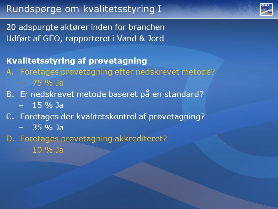 Rundspørge om kvalitetsstyring I 20 adspurgte aktører inden for branchen Udført af GEO, rapporteret i Vand & Jord Kvalitetsstyring af prøvetagning A.Foretages prøvetagning efter nedskrevet metode.
