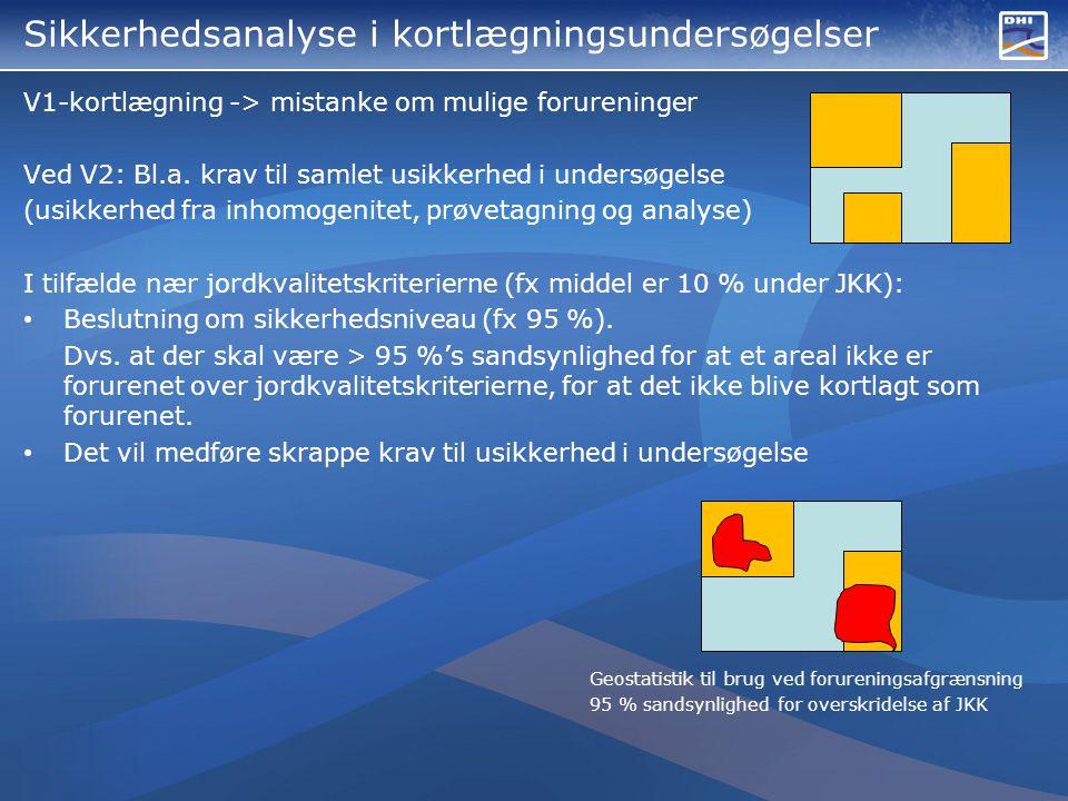 Sikkerhedsanalyse i kortlægningsundersøgelser V1-kortlægning -> mistanke om mulige forureninger Ved V2: Bl.a.