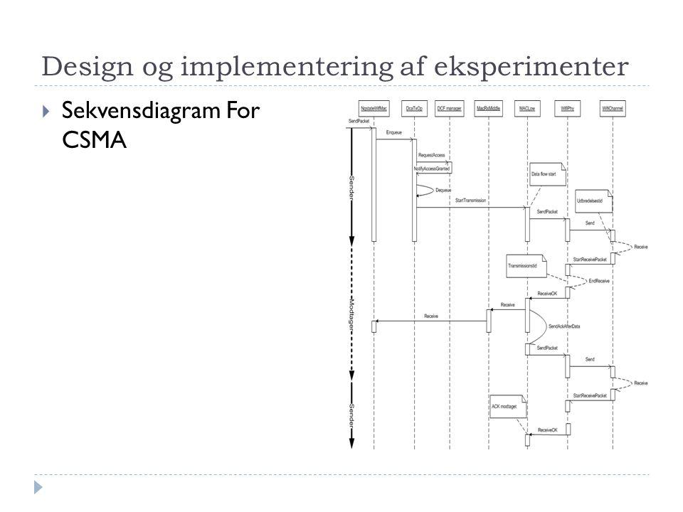 Design og implementering af eksperimenter  Sekvensdiagram For CSMA