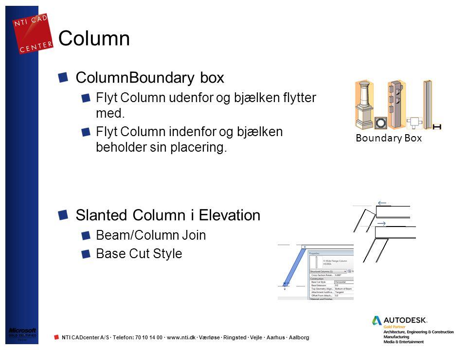 NTI CADcenter A/S · Telefon: 70 10 14 00 · www.nti.dk · Værløse · Ringsted · Vejle · Aarhus · Aalborg Column ColumnBoundary box Flyt Column udenfor og bjælken flytter med.