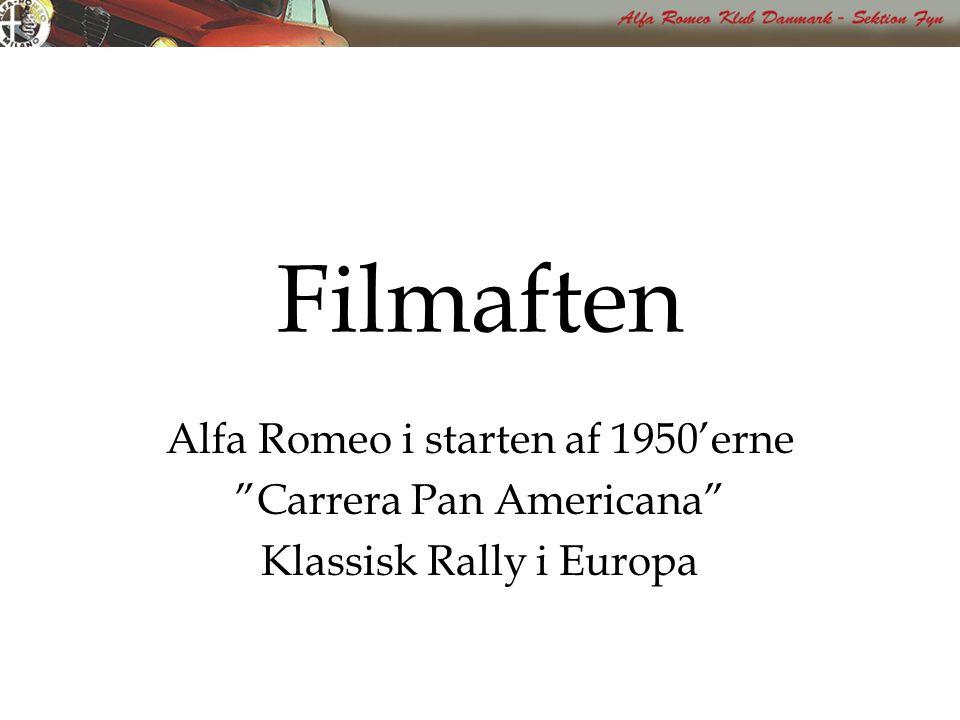 Filmaften Alfa Romeo i starten af 1950'erne Carrera Pan Americana Klassisk Rally i Europa
