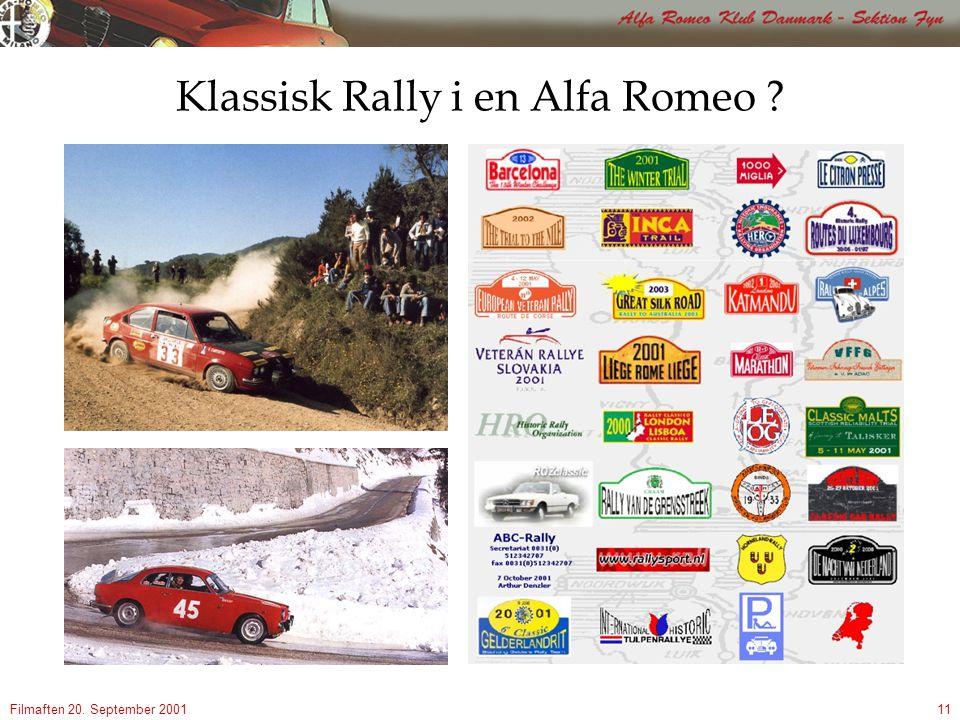 Filmaften 20. September 200111 Klassisk Rally i en Alfa Romeo
