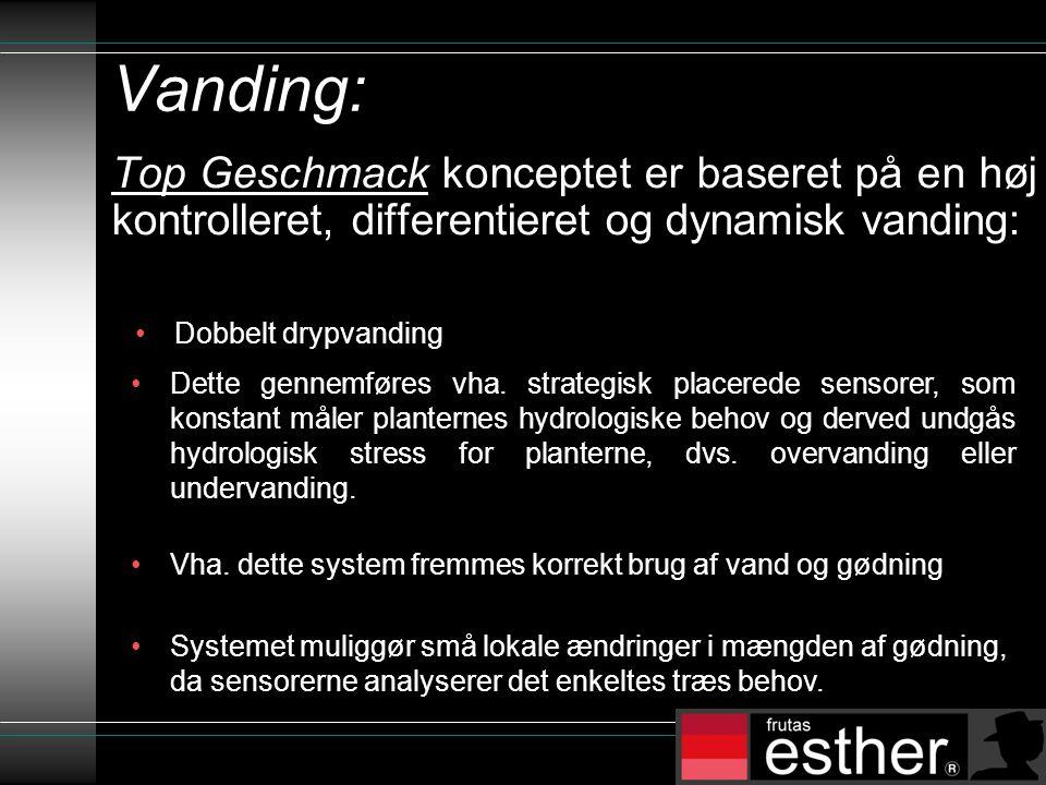 Vanding: Top Geschmack konceptet er baseret på en høj kontrolleret, differentieret og dynamisk vanding: •Vha.