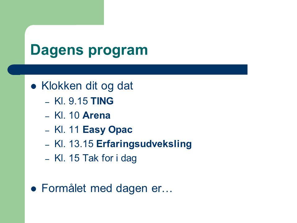Dagens program  Klokken dit og dat – Kl. 9.15 TING – Kl.