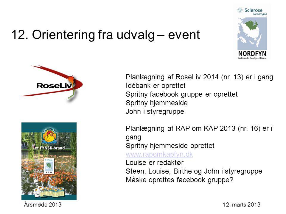 12. marts 2013Årsmøde 2013 12. Orientering fra udvalg – event Planlægning af RoseLiv 2014 (nr.