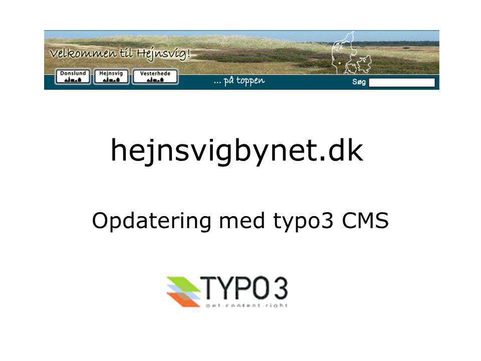 hejnsvigbynet.dk Opdatering med typo3 CMS