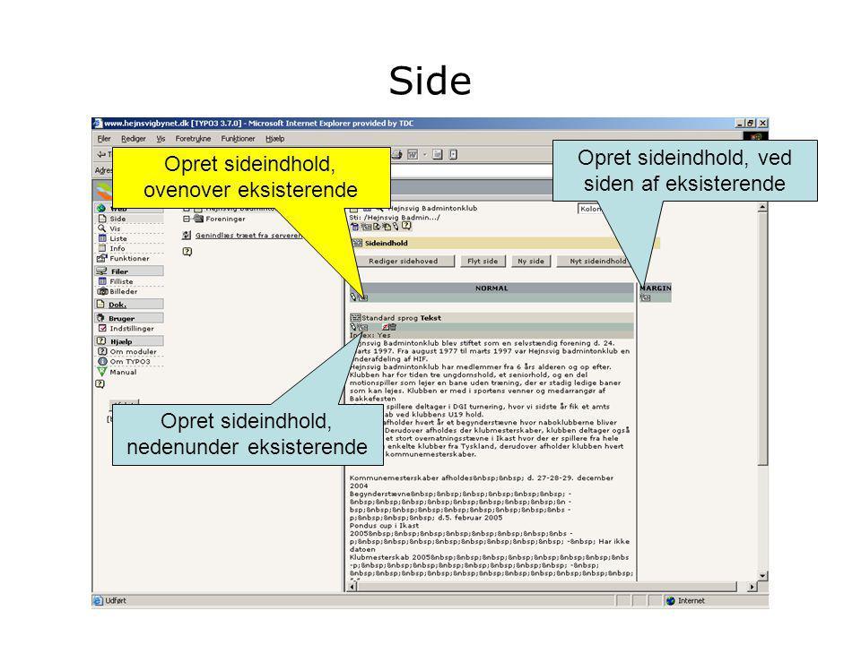 Side Opret sideindhold, nedenunder eksisterende Opret sideindhold, ved siden af eksisterende Opret sideindhold, ovenover eksisterende