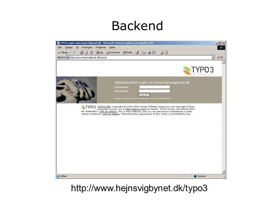 Backend http://www.hejnsvigbynet.dk/typo3