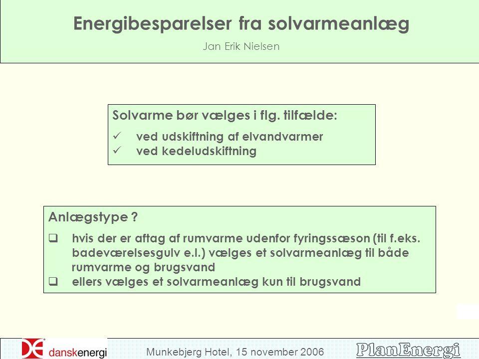 Munkebjerg Hotel, 15 november 2006 Energibesparelser fra solvarmeanlæg Jan Erik Nielsen Solvarme bør vælges i flg.