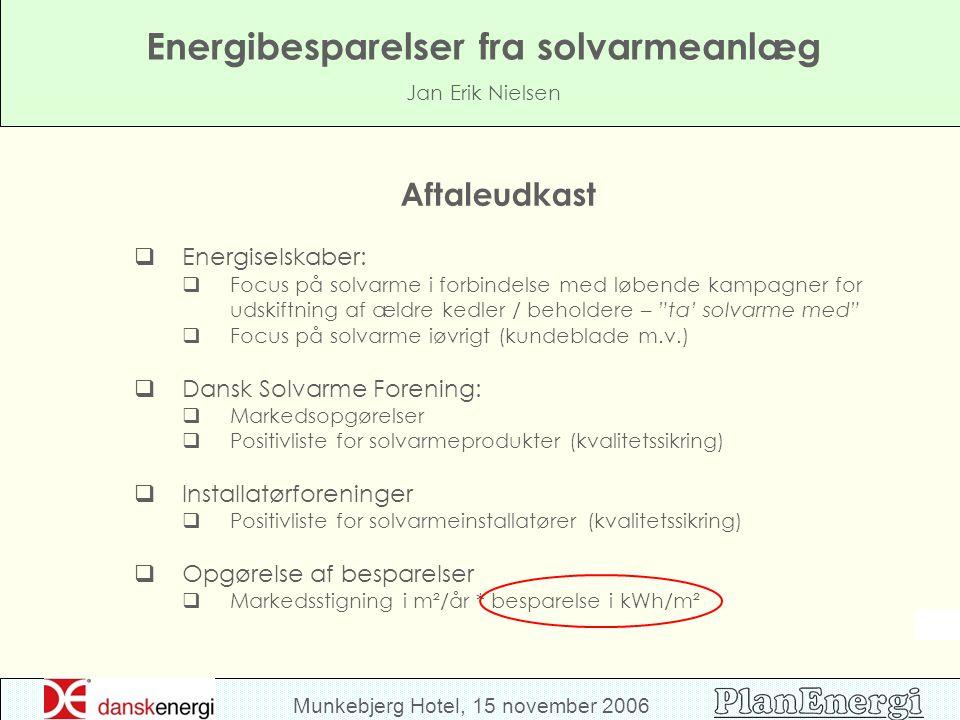 Munkebjerg Hotel, 15 november 2006 Energibesparelser fra solvarmeanlæg Jan Erik Nielsen Aftaleudkast  Energiselskaber:  Focus på solvarme i forbindelse med løbende kampagner for udskiftning af ældre kedler / beholdere – ta' solvarme med  Focus på solvarme iøvrigt (kundeblade m.v.)  Dansk Solvarme Forening:  Markedsopgørelser  Positivliste for solvarmeprodukter (kvalitetssikring)  Installatørforeninger  Positivliste for solvarmeinstallatører (kvalitetssikring)  Opgørelse af besparelser  Markedsstigning i m²/år * besparelse i kWh/m²
