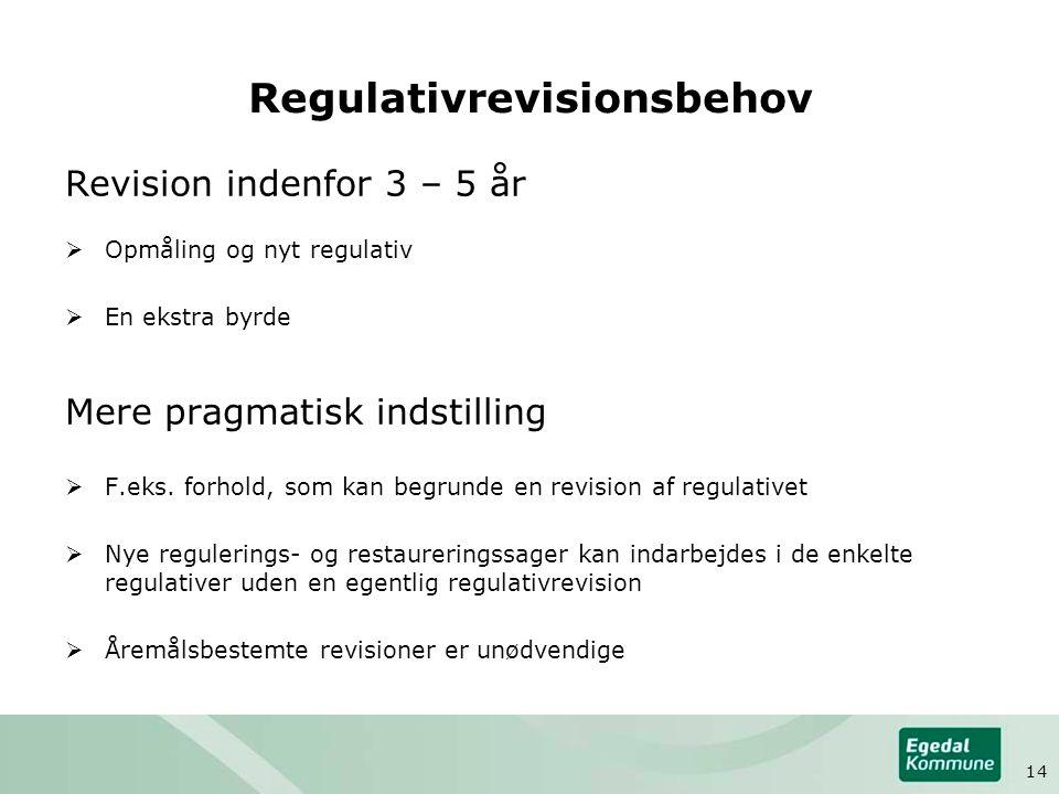 Regulativrevisionsbehov Revision indenfor 3 – 5 år  Opmåling og nyt regulativ  En ekstra byrde Mere pragmatisk indstilling  F.eks.