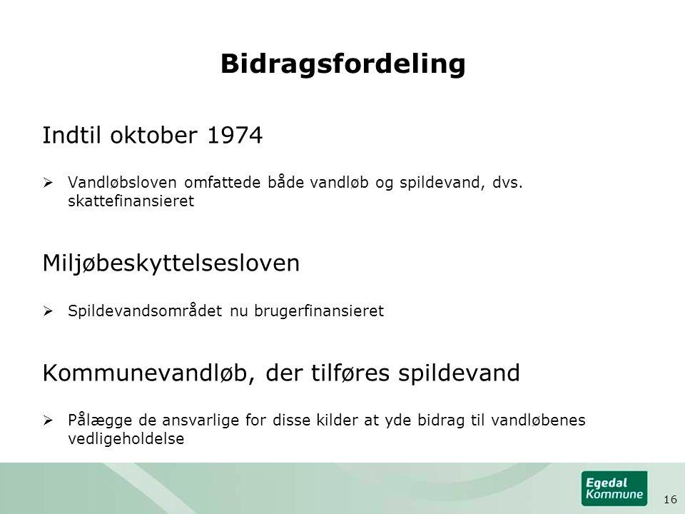 Bidragsfordeling Indtil oktober 1974  Vandløbsloven omfattede både vandløb og spildevand, dvs.