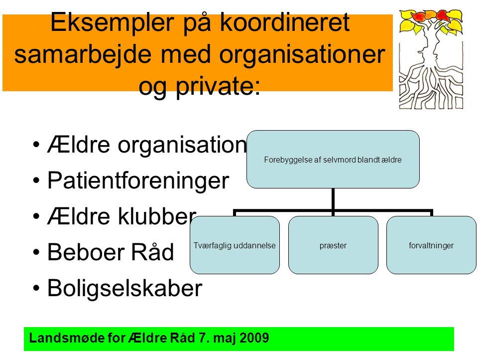 Eksempler på koordineret samarbejde med organisationer og private: Landsmøde for Ældre Råd 7.