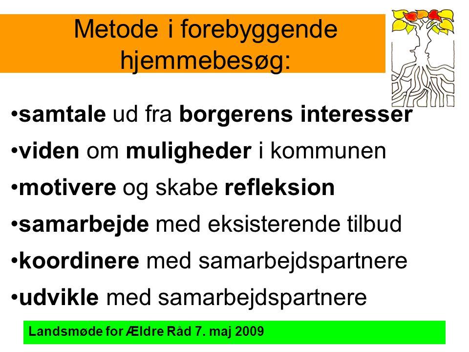 Metode i forebyggende hjemmebesøg: Landsmøde for Ældre Råd 7.