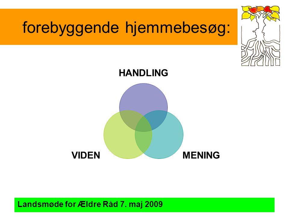 forebyggende hjemmebesøg: Landsmøde for Ældre Råd 7. maj 2009 HANDLING MENINGVIDEN