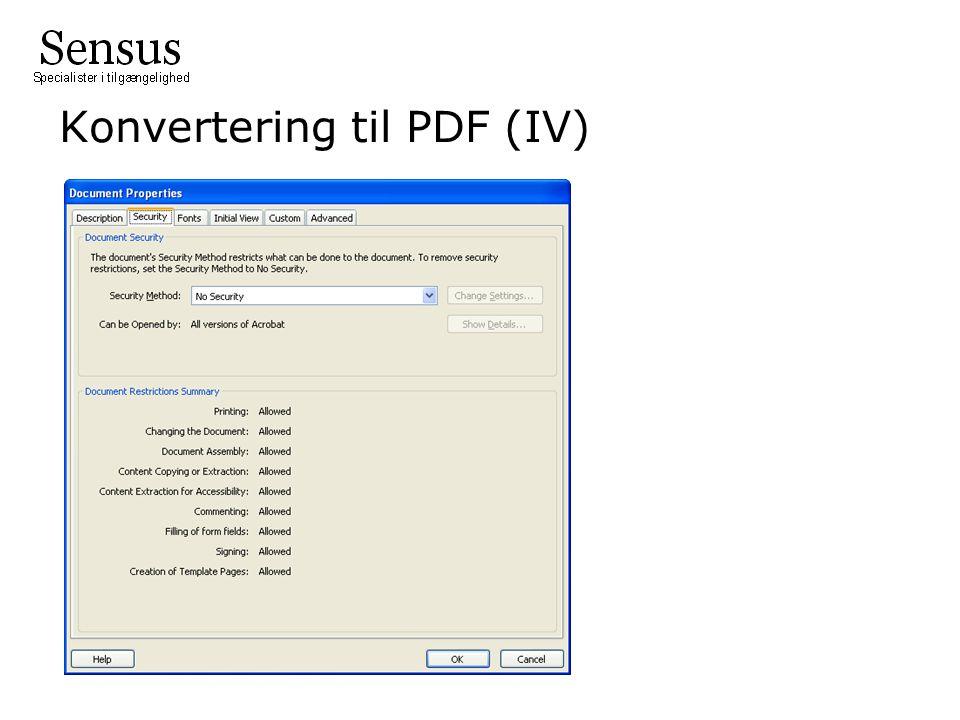 Konvertering til PDF (IV)