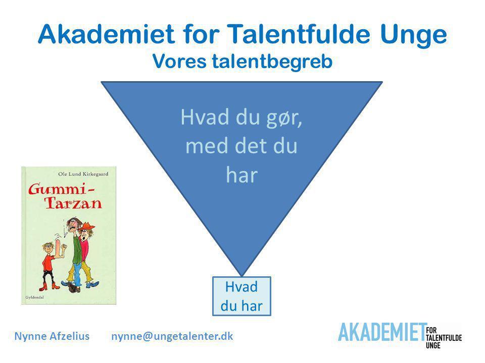 Akademiet for Talentfulde Unge Vores talentbegreb Hvad du har Hvad du gør, med det du har Nynne Afzeliusnynne@ungetalenter.dk