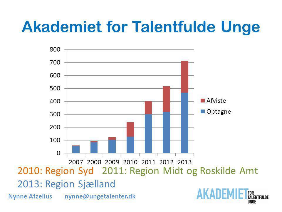 Akademiet for Talentfulde Unge 2010: Region Syd 2011: Region Midt og Roskilde Amt 2013: Region Sjælland Nynne Afzeliusnynne@ungetalenter.dk