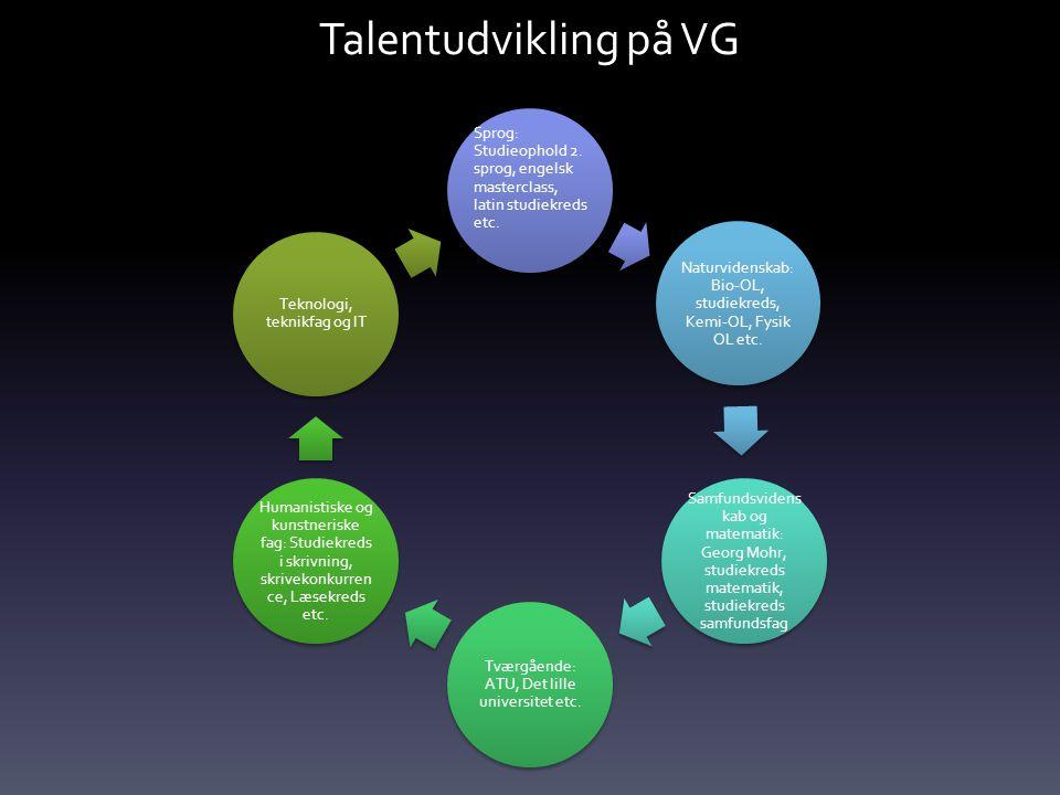 Talentudvikling på VG Sprog: Studieophold 2. sprog, engelsk masterclass, latin studiekreds etc.