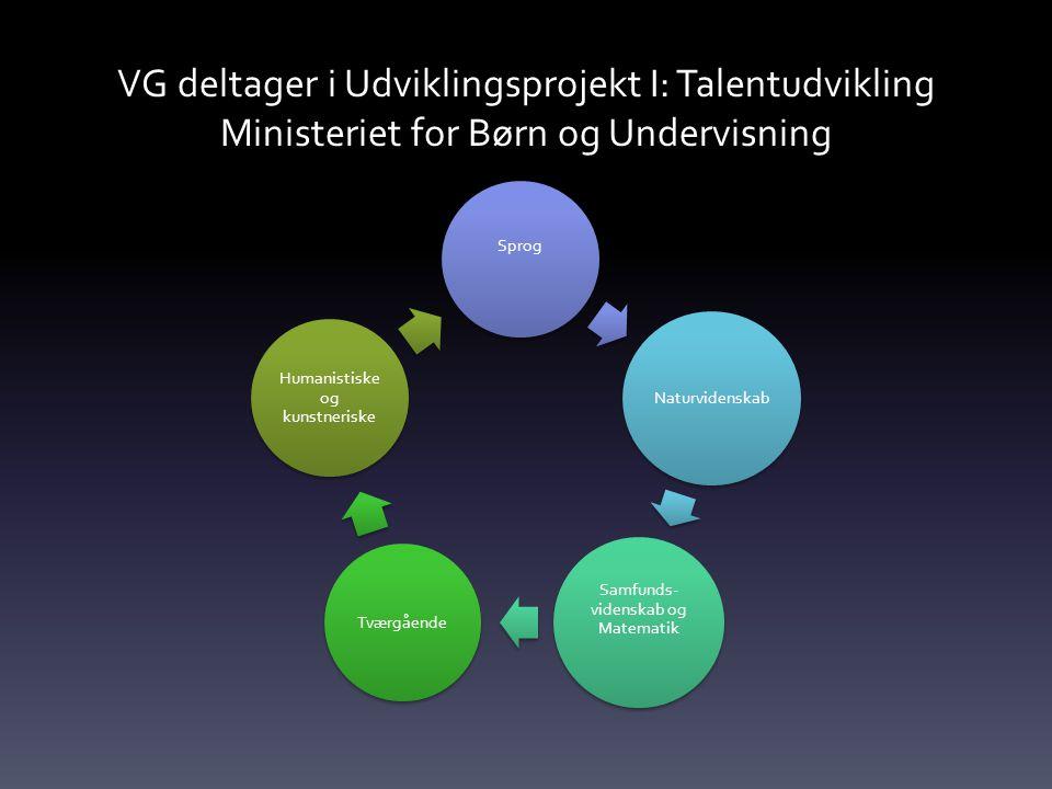 VG deltager i Udviklingsprojekt I: Talentudvikling Ministeriet for Børn og Undervisning Sprog Naturvidenskab Samfunds- videnskab og Matematik Tværgående Humanistiske og kunstneriske