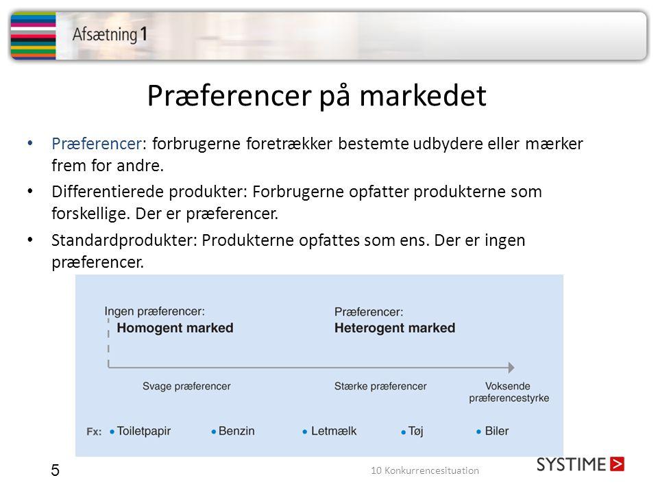 Præferencer på markedet 5 • Præferencer: forbrugerne foretrækker bestemte udbydere eller mærker frem for andre.