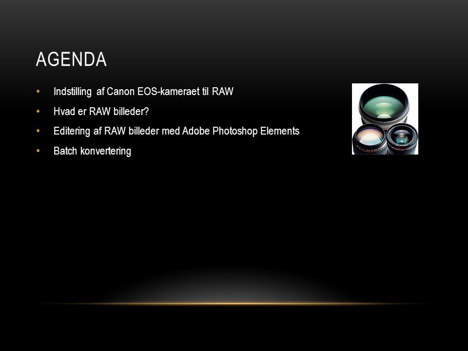 AGENDA • Indstilling af Canon EOS-kameraet til RAW • Hvad er RAW billeder.