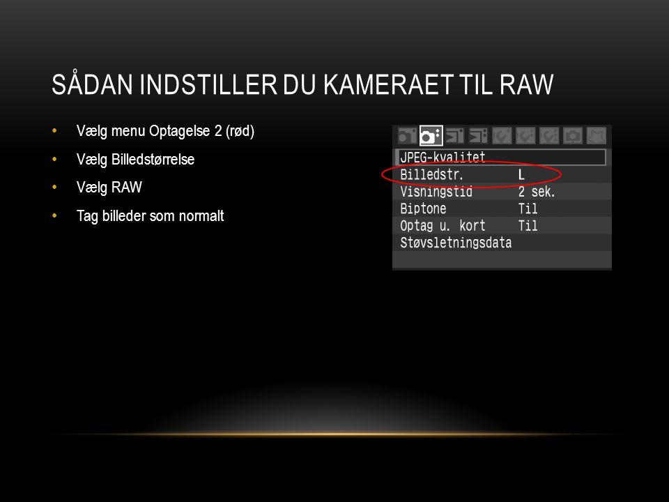 SÅDAN INDSTILLER DU KAMERAET TIL RAW • Vælg menu Optagelse 2 (rød) • Vælg Billedstørrelse • Vælg RAW • Tag billeder som normalt